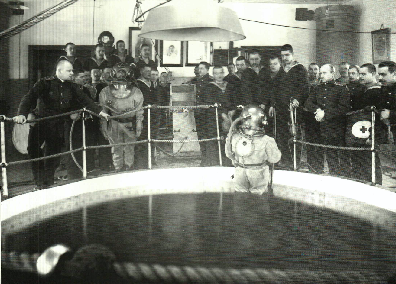 Russian Navy working diving exercises, 1913