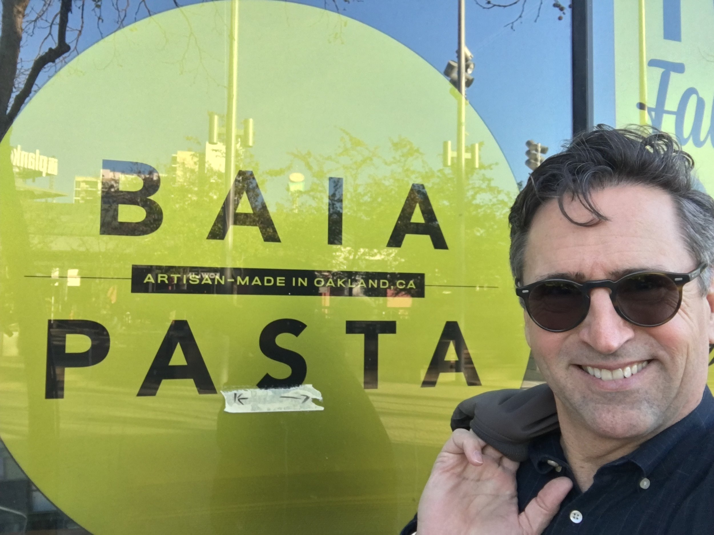 In front of Renato's pasta company in Jack London Square. …here he makes his pasta.