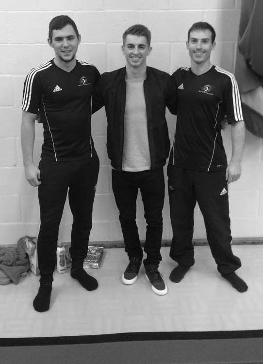 World Champion Max Whitlock (centre) with BGC Coaches James Langley (left) and Lewis Jones (right)