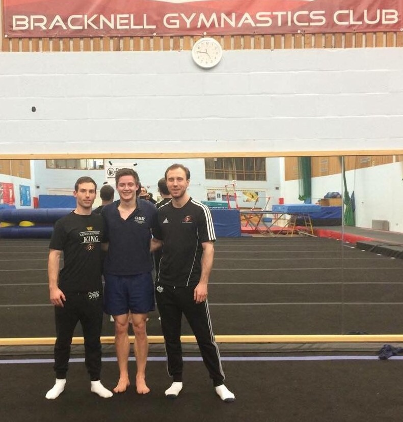 Lewis Jones and Chris Bennett pictured with GBR tumbling star Kristof Willerton (centre).