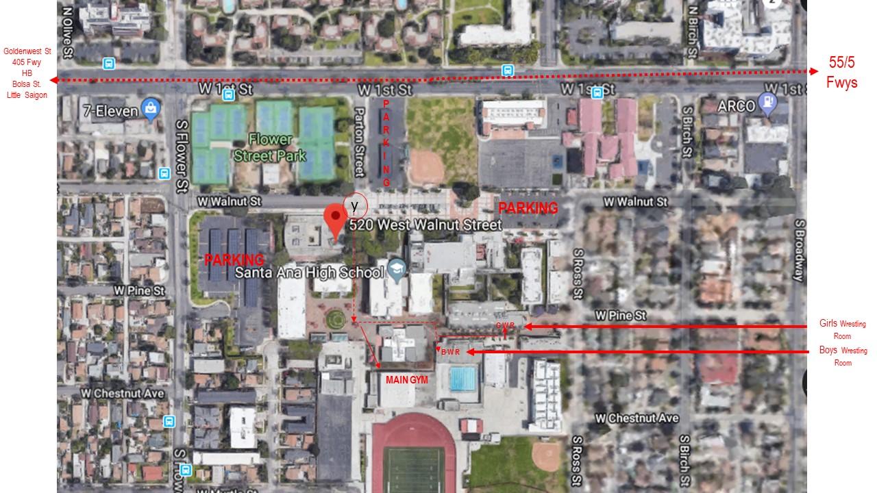 Google Earth picture of arera surrounding 520 W. Walnut St., Santa Ana, CA 92701