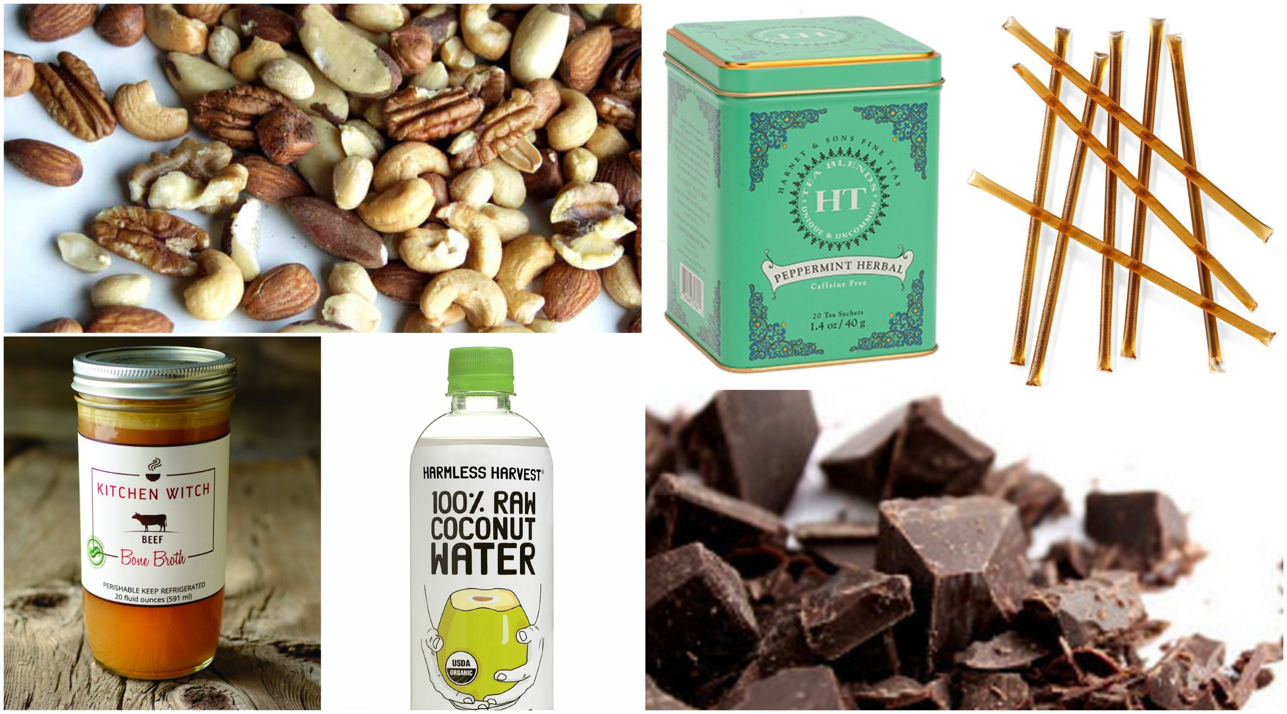 Keep these snacks on hand or in your birth bag. Most can be found at a local natural foods grocery store: raw nuts,  peppermint tea , honey sticks,  grass-fed beef bone broth,   coconut water,  and 80% dark chocolate