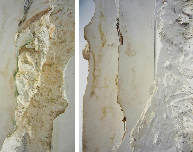 Erathem    |2014 | plaster, concrete, historical texts, domestic debris  96 x540 x 12