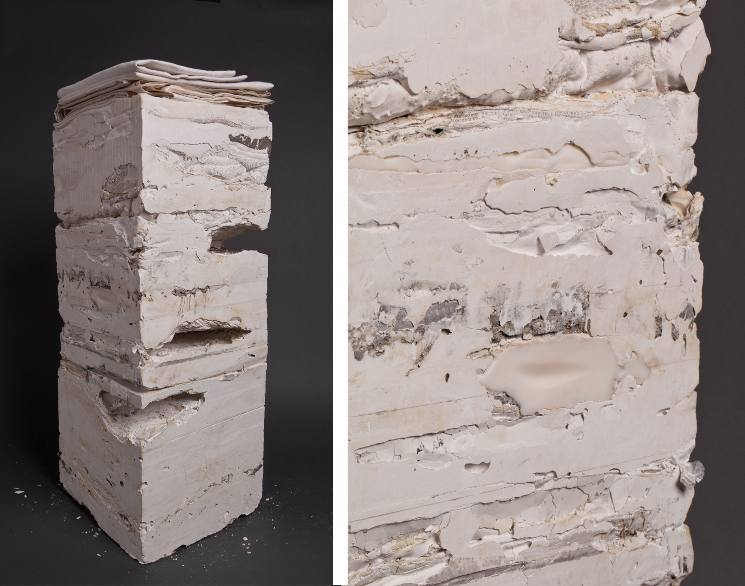 Sublimation  | 2012 | plaster & domestic debris | 30 x 10 x 10 |  photo: Jess Dewes