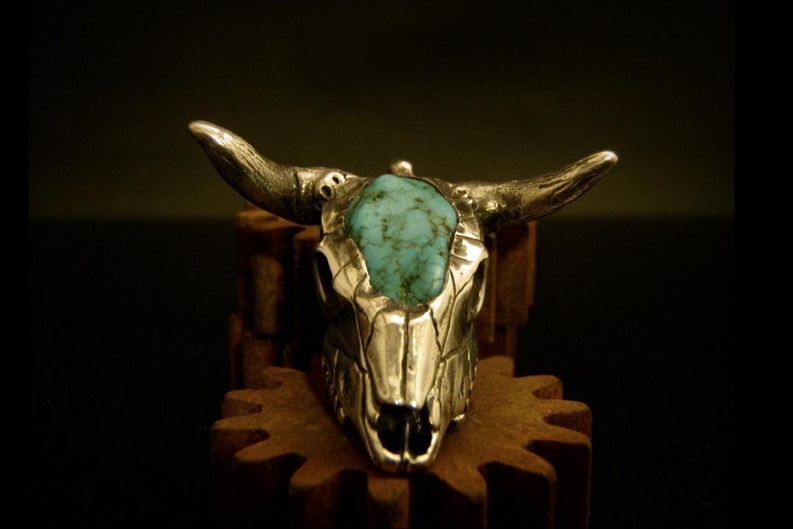 turq & silver bull pendant.jpg
