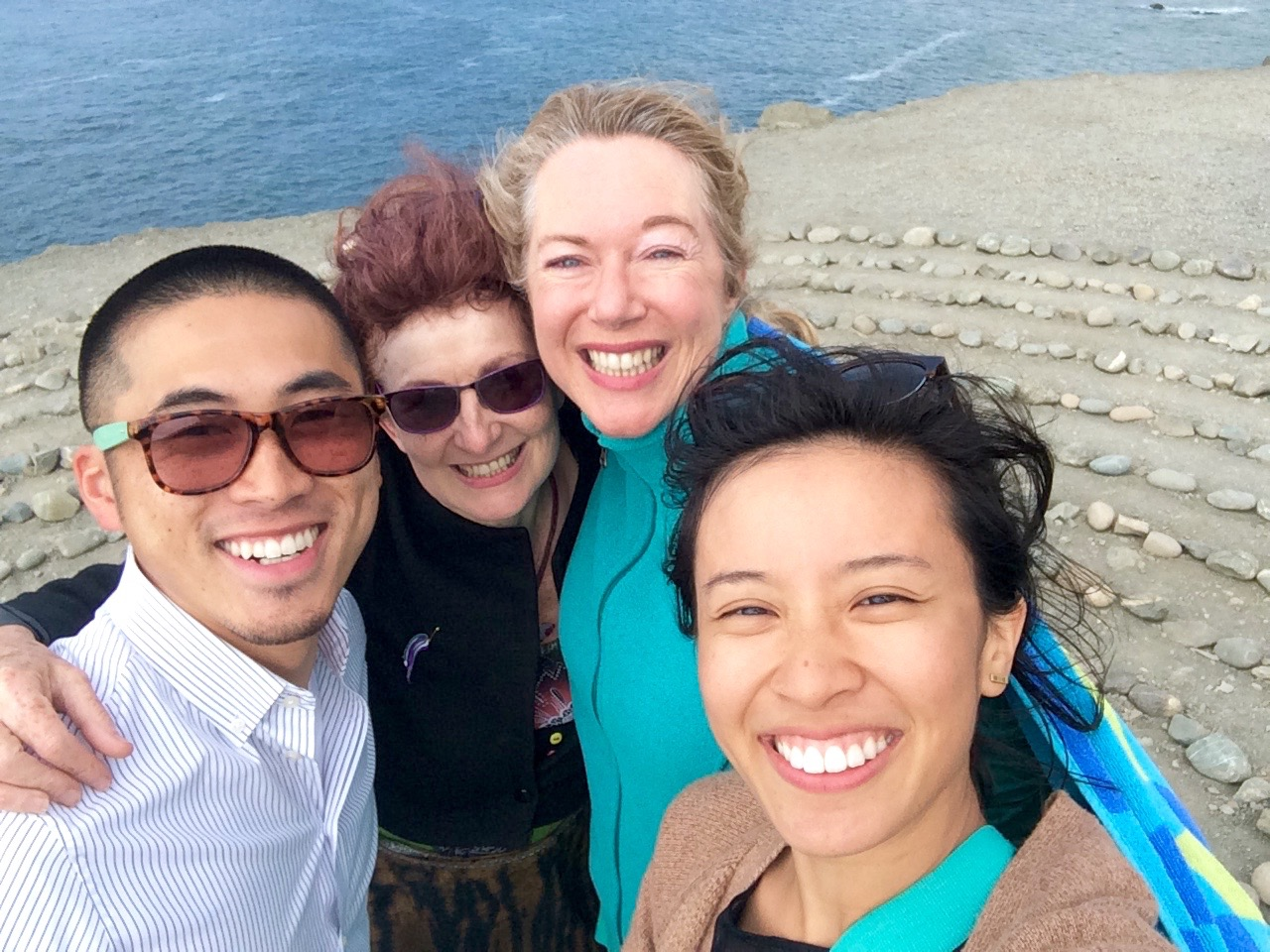 August 7, 2015. Land's End Labyrinth Rock Maze - San Francisco. Pictured from left to right (Myself, Mary, Sarah, Mai-Thi)