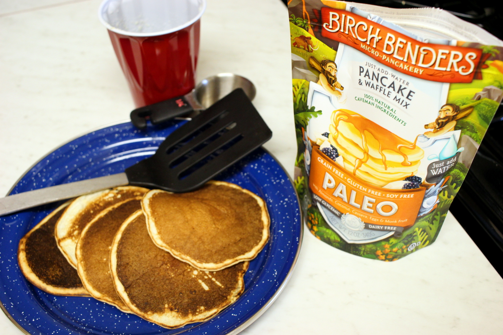 All the tools one needs to make these pancakes (measuring cup optional).