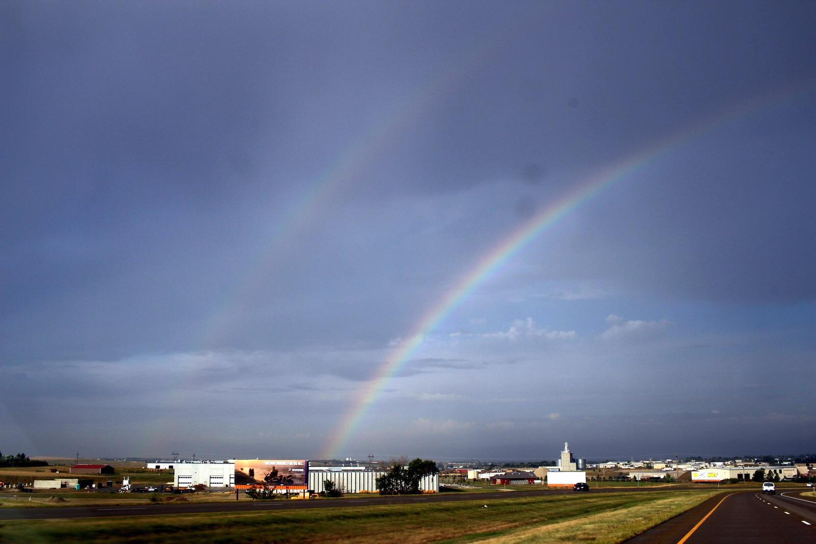 The sky wasn't ominous all day. A double rainbow.