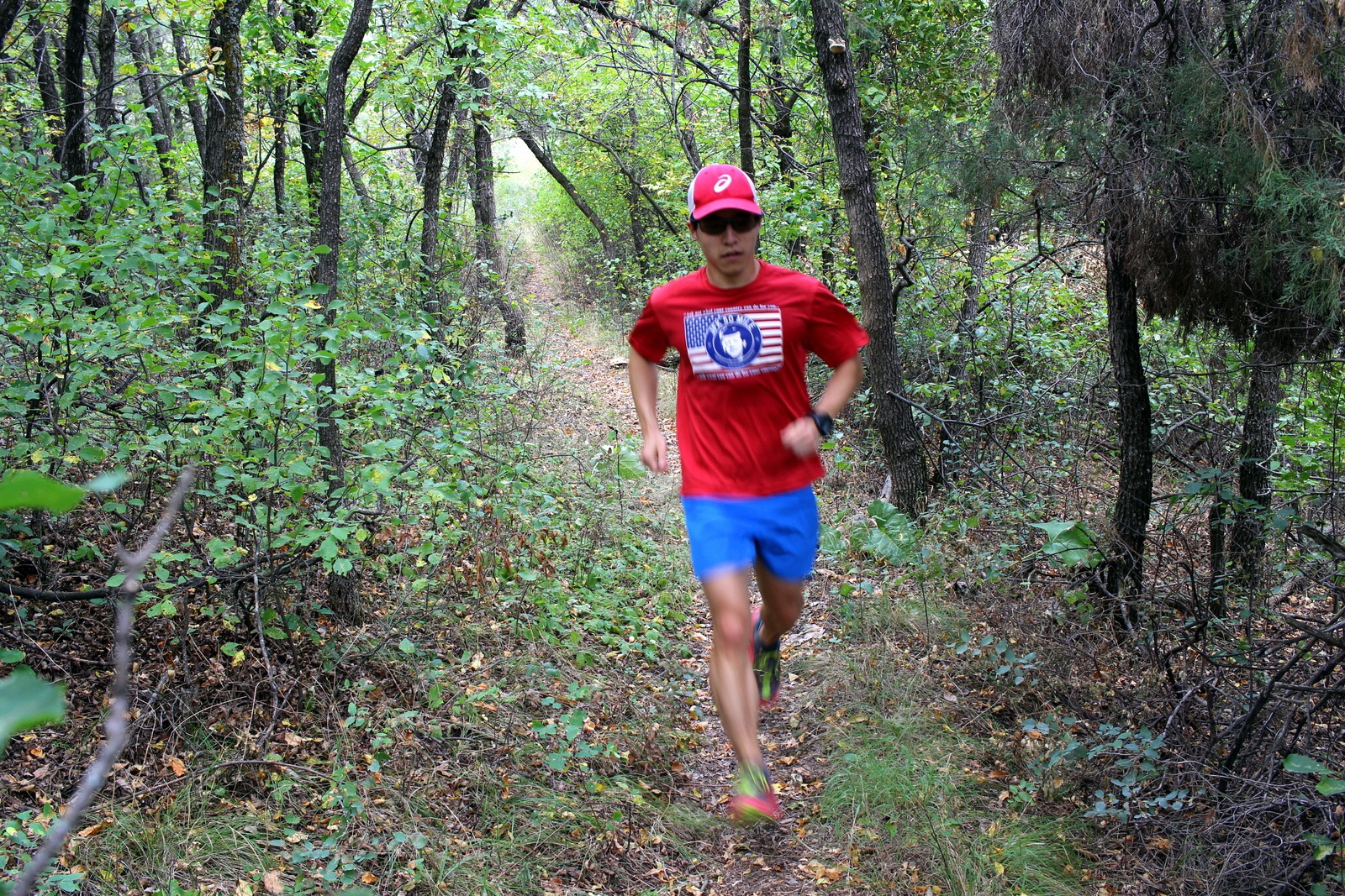 Running through the woods.