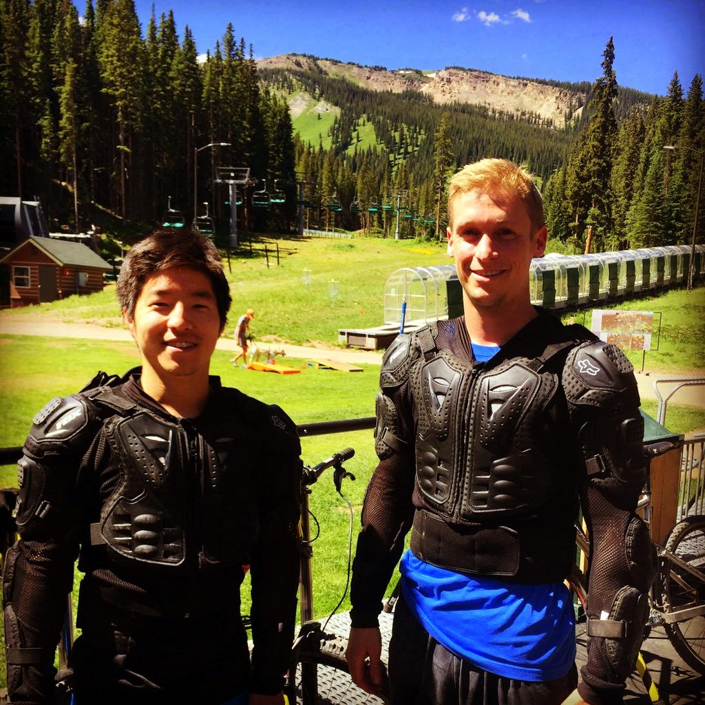 Downhill mountain biking pads--AKA the Mad Max life.
