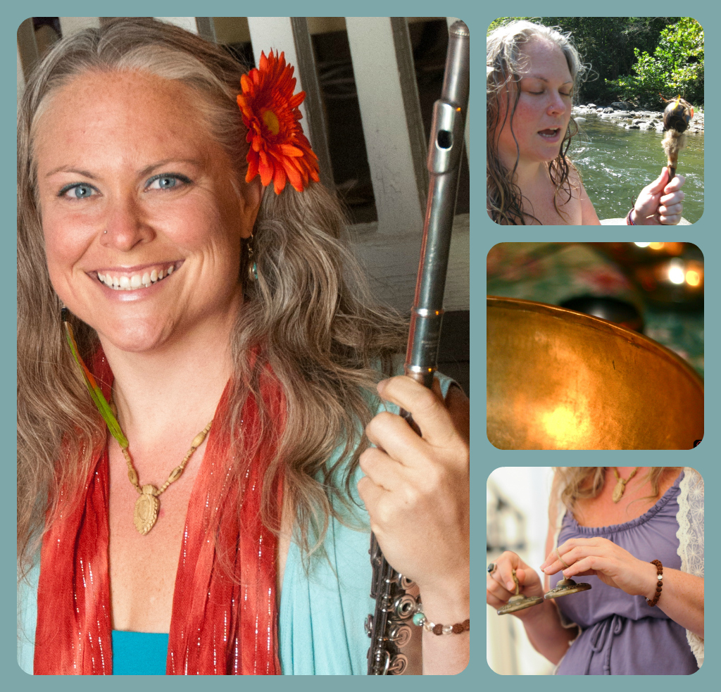 Visionary musician   Angela Blueskies   will be joining us on Saturday night for a sound healing ceremony. Angela carries deep understanding of the healing powers of music and the Earth. Deeply influenced by sacred ceremonies in Peru and the traditions of bhakti yoga and kirtan, she creates original music that is a fusion of these traditions, with an intention of bringing people into meditation, healing and ecstatic states, and profound connection with Spirit.