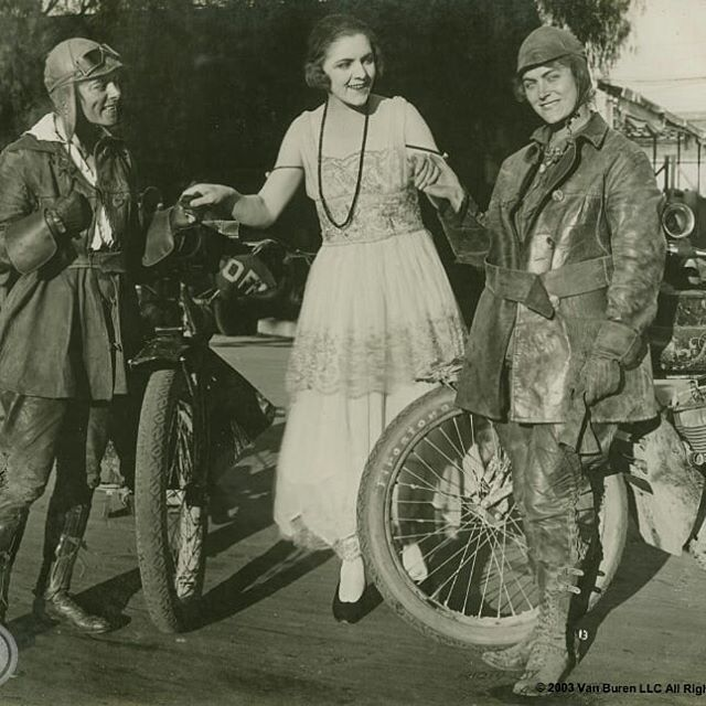 Happy #internationalwomensday from the Van Buren Sisters. Pictured here meeting the Paramount Girl, Anita King, on their cross country trip in 1916. Woman can, if she will!  #vanburensisters  #paramount  #womancanifshewill  #motorcyclesofinstagram