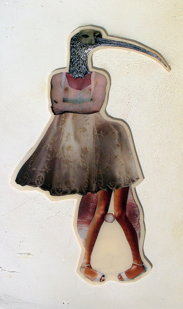 """A Little Awkward ,2004,Self-produced photographs and appropriated printed materials cast in plastic resin. 7.25 X 11.5"""""""