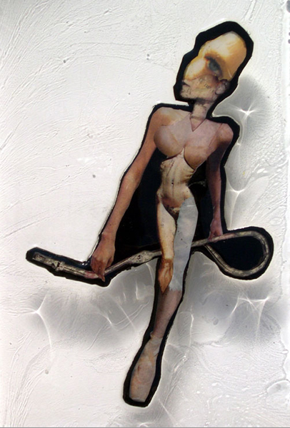 """Walk Through It ,2005,Appropriated printed materials cast in plastic resin. 6.5 X 12"""""""