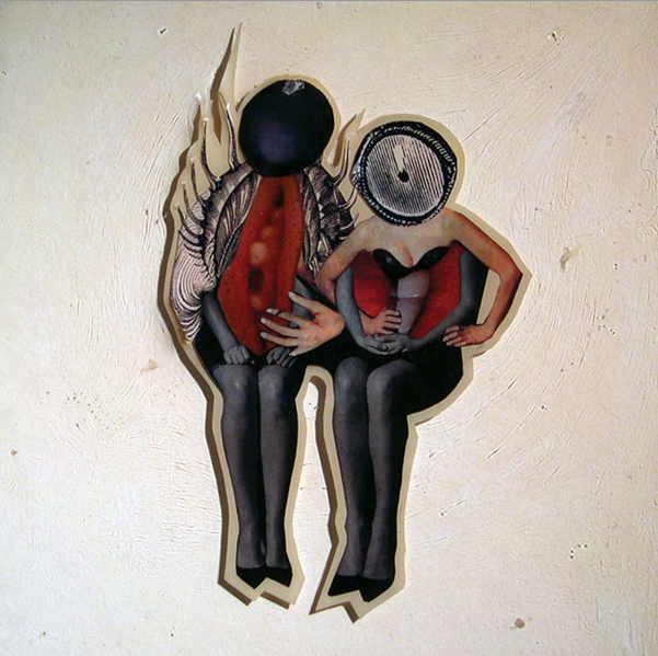 """Two Bad People ,2004,Self-produced photographs and appropriated printed materials cast in plastic resin. 9 X 9"""""""