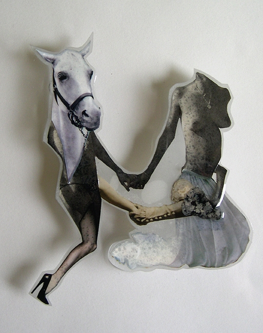 Happy Couple , 2007, Self-produced photographs, vintage photographs, and appropriated printed materials cast in plastic resin. 11 X 14""