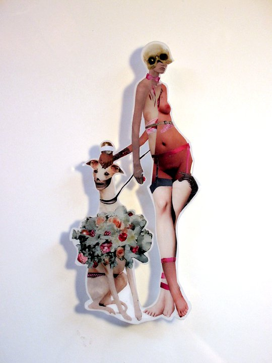 Good Dog , 2010, Hand-cut and assembled photographs and found images, cast in plastic resin. Framed. 16 X 20""