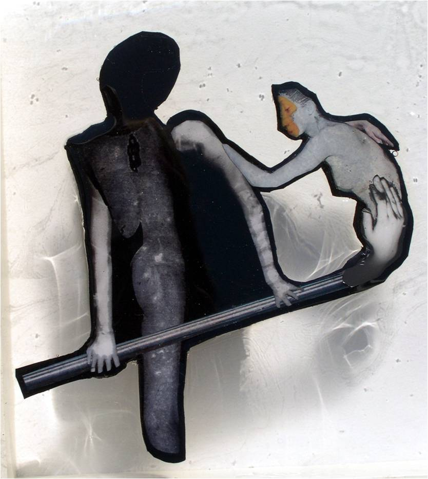 """Tap, Tap, 2006, Photographsand appropriated printed materials cast in plastic resin. 8.25 X 8.25"""""""