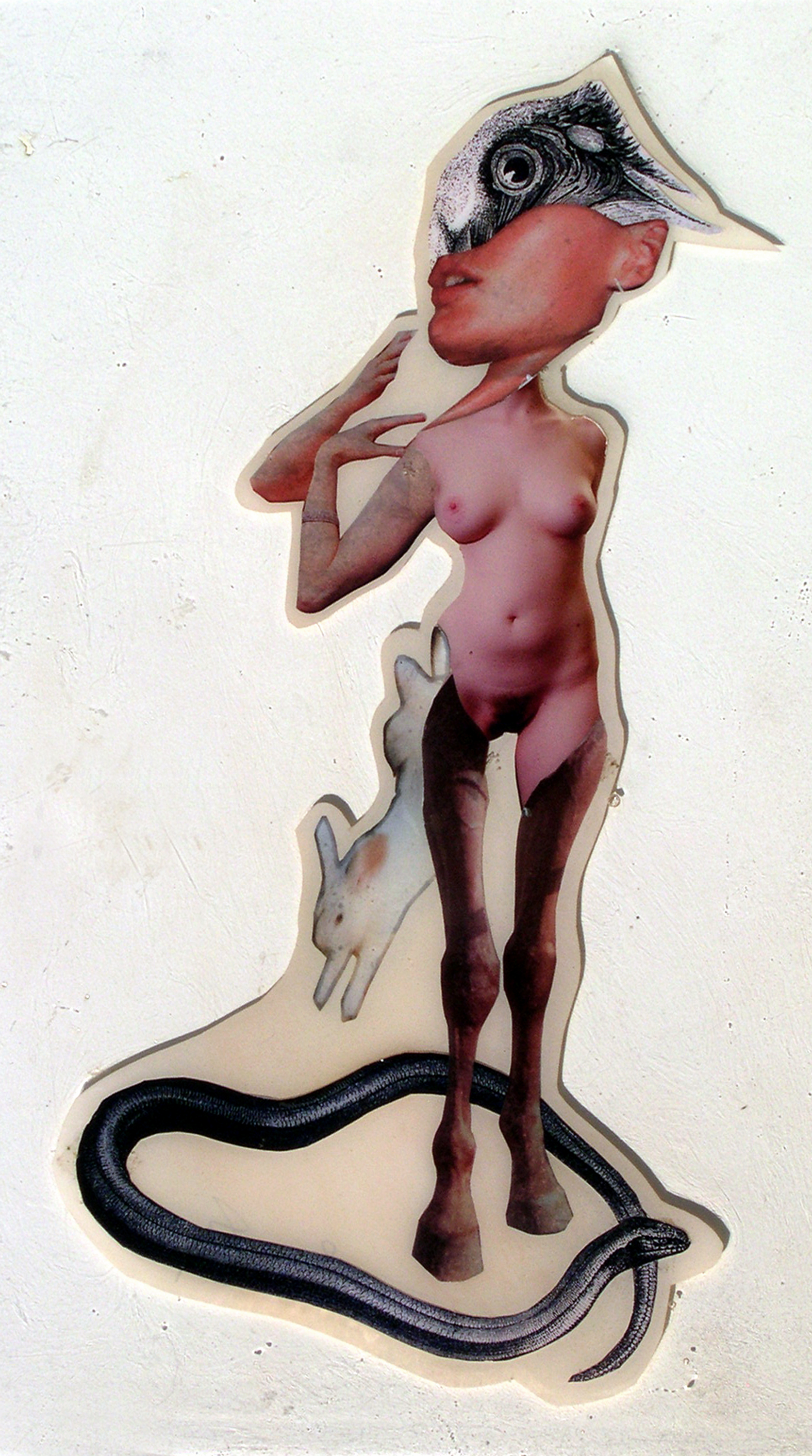 """She's Lost It, 2003,Self-produced photographs and appropriated printed materials cast in plastic resin. 7.25 X 11"""""""