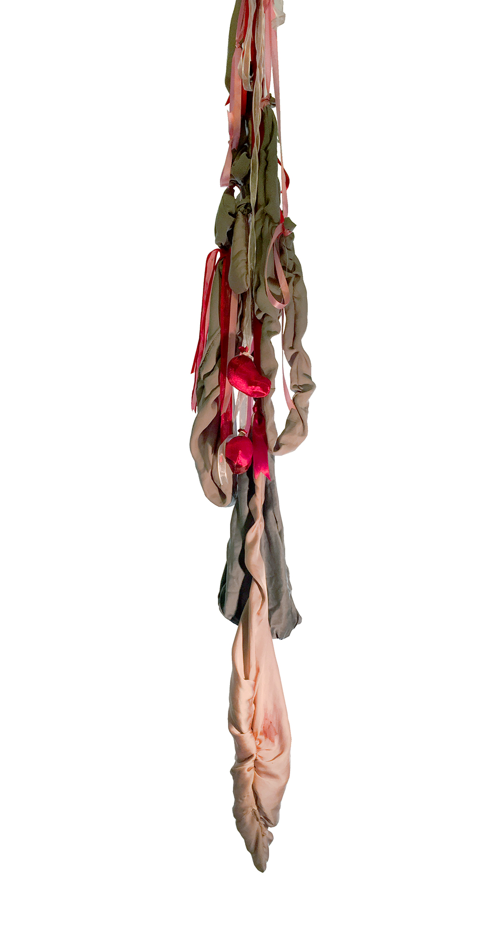 "Gutt,  2017  Hand and machine sewn silk from old nightgown, ribbon, natural and synthetic pigments  Aprox. 80 x 12"" dia"