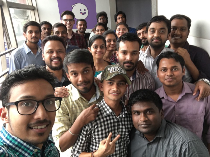 A celebratory lunch with the GhostCodes development team during Austin's visit to Softway's Bangalore office.