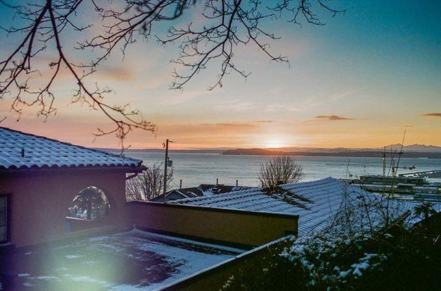 Snowy sunset over Seattle