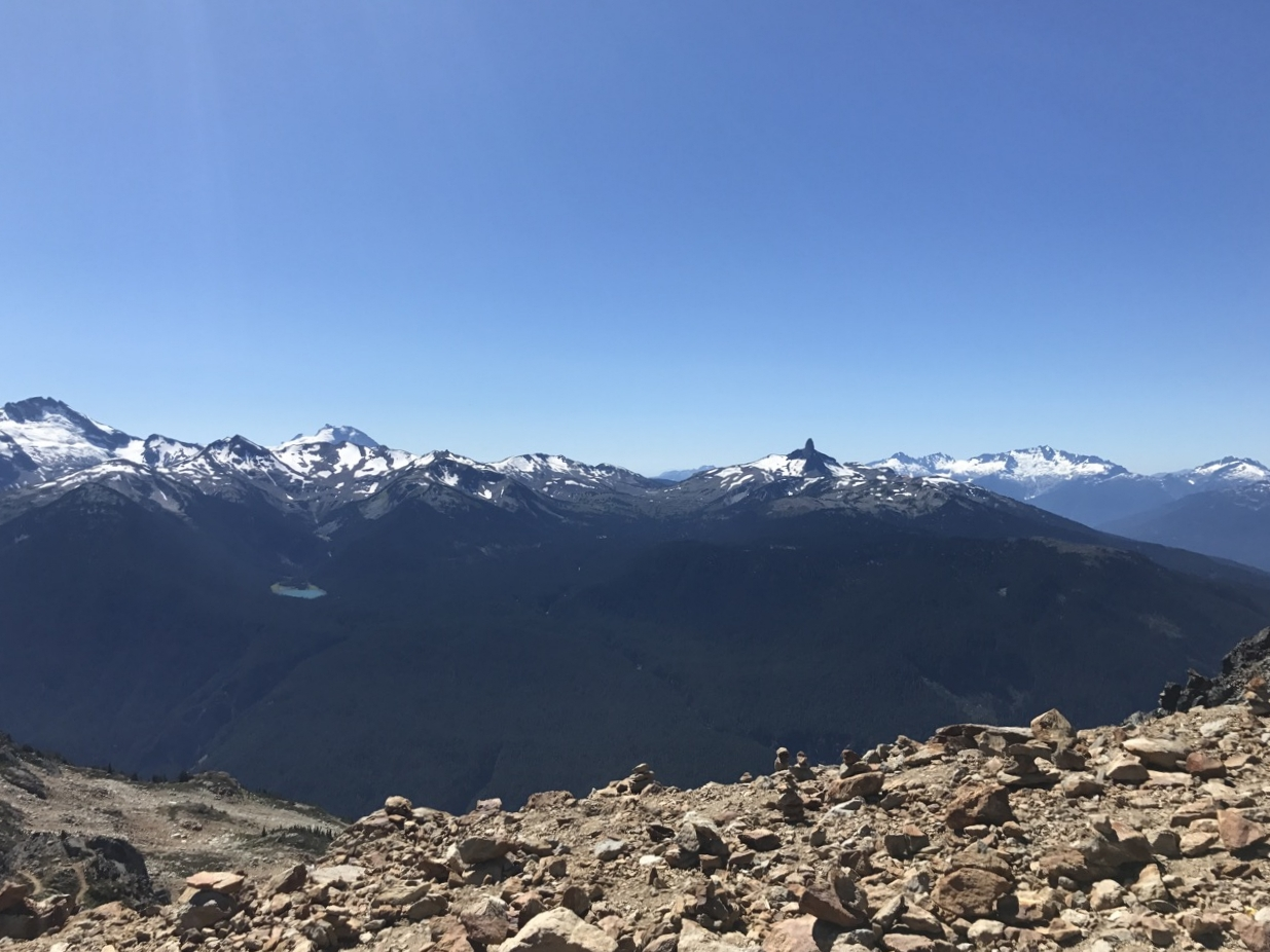 The view from the top of Whistler. In the middle of winter, this is covered in snow and skiers. You can see Black Tusk off in the distance.