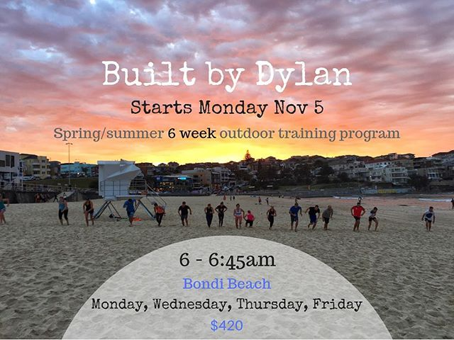 Come and join me as we kick into summer with 6 weeks of outdoor training down here at Bondi beach! 😃 💥 training 4 x per week 💥 6-6:45am 💥small groups so space limited 💥suitable for all ages/fitness levels 💥 only $420  Simply shoot me an email or DM to secure your spot. Come on down, bring a friend and enjoy the next 6 weeks of mornings just like this one 😊🙌🏼 #bootcamp #bondibeach #bondioutdoorgym #outdoortraining