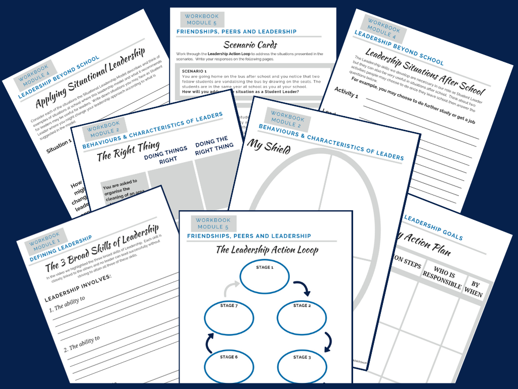Dozens of Leadership Activities - The Workbooks contain dozens of activities and tasks that your student leader will complete as they work through each of the video lessons. These include leadership processes, role play scenarios, action plans, definitions and leadership applications.