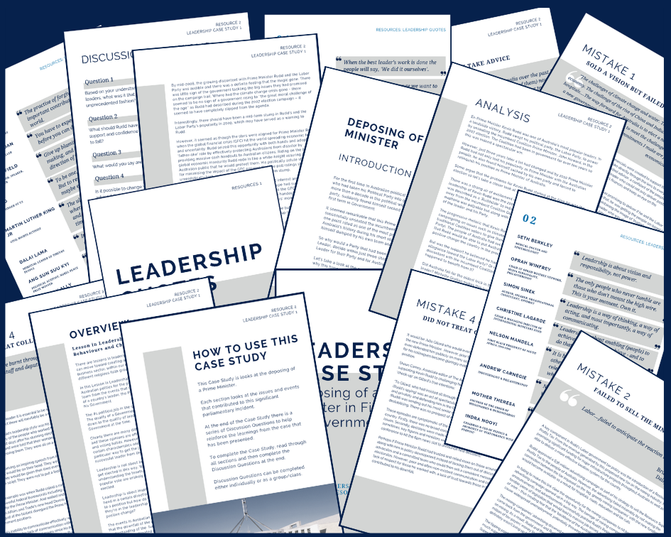 comprehensive supporting resources - The Resources section of the program is where you'll find useful resources to support your students' learning. Resources include the Leadership Case Study, Discussion Questions, Learning Journal, Student Leader Role Agreement and Leadership Quotes. This section is being continually added to.