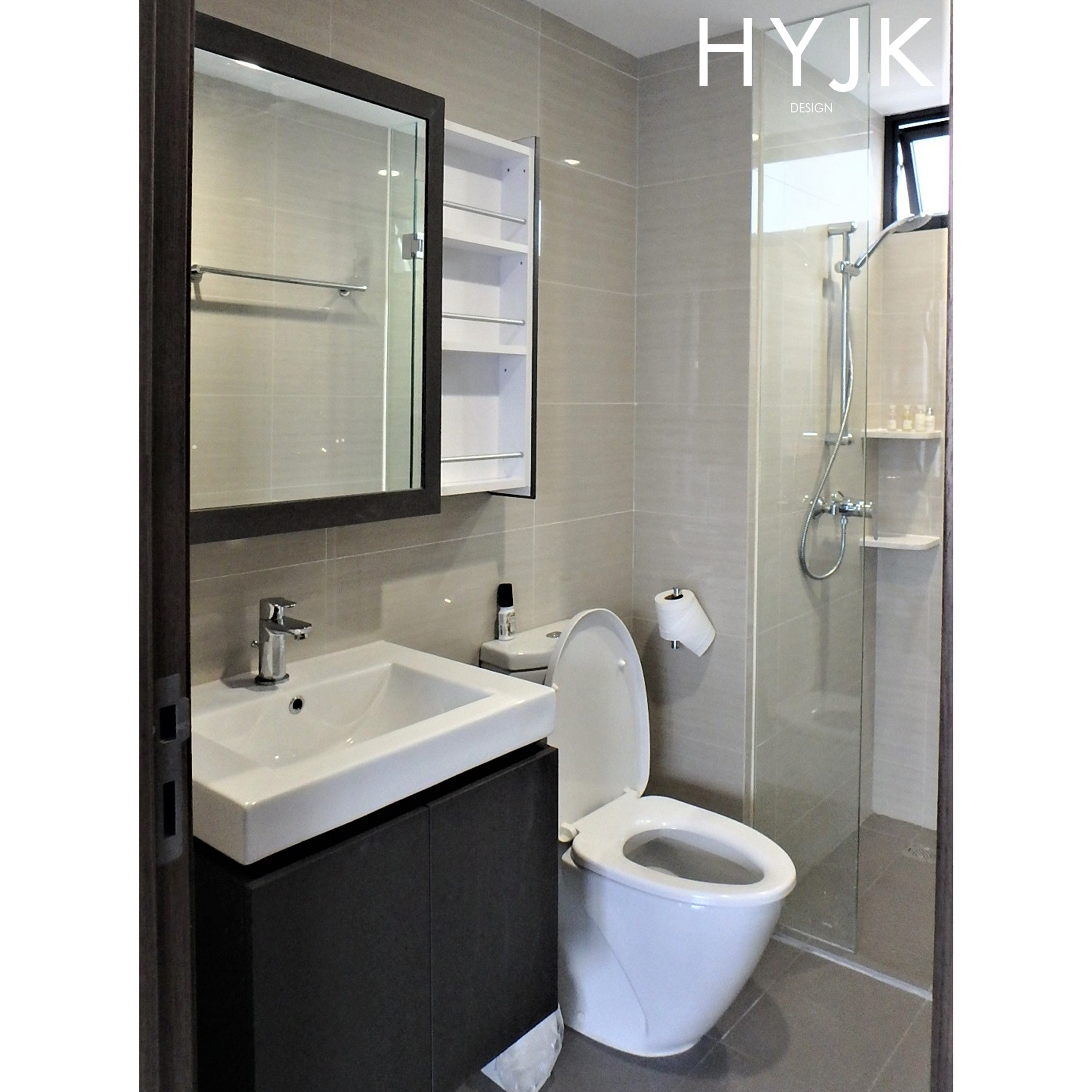 Retractable shelving allowing access to cosmetics and grooming accessories while using the mirror.