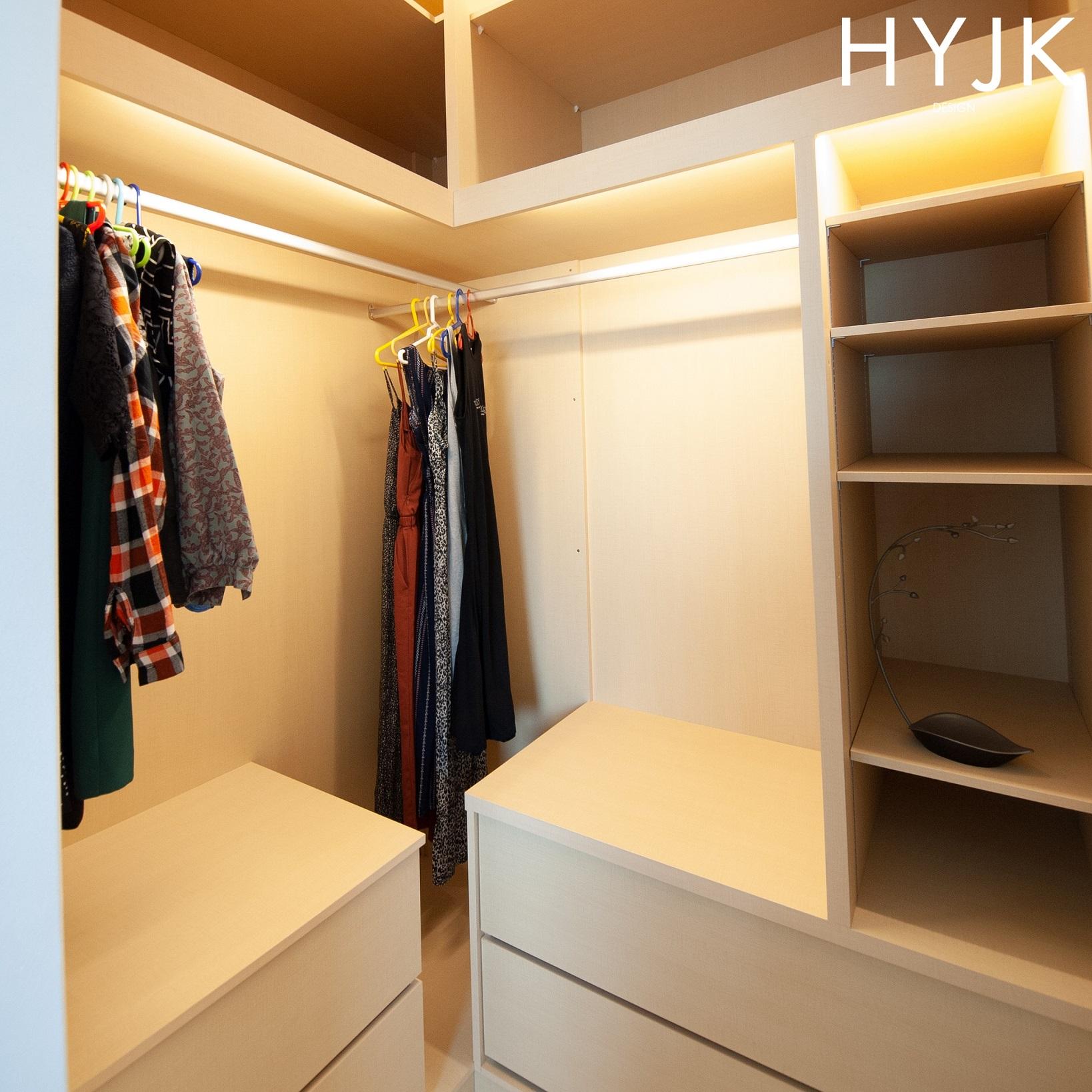 Maximizing wardrobe space in a small area.