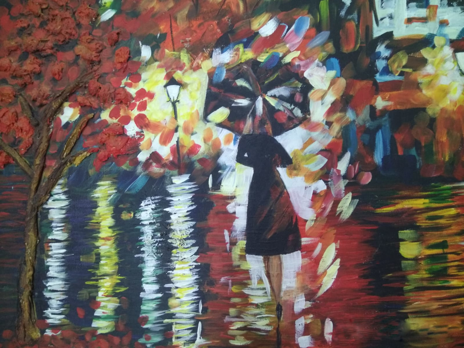 REMINISCENCE    Oil with paper mache on canvas. This piece is part a collection where it features the rear of various groups of people feeling joy in the midst of the dark and gloomy weather. A single lady suddenly recollects her not so lonely past as she walks by.