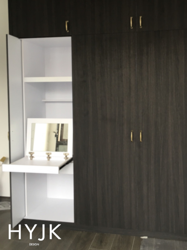 Retractable casement door to hideaway a dresser. (Project Sensual Waters)