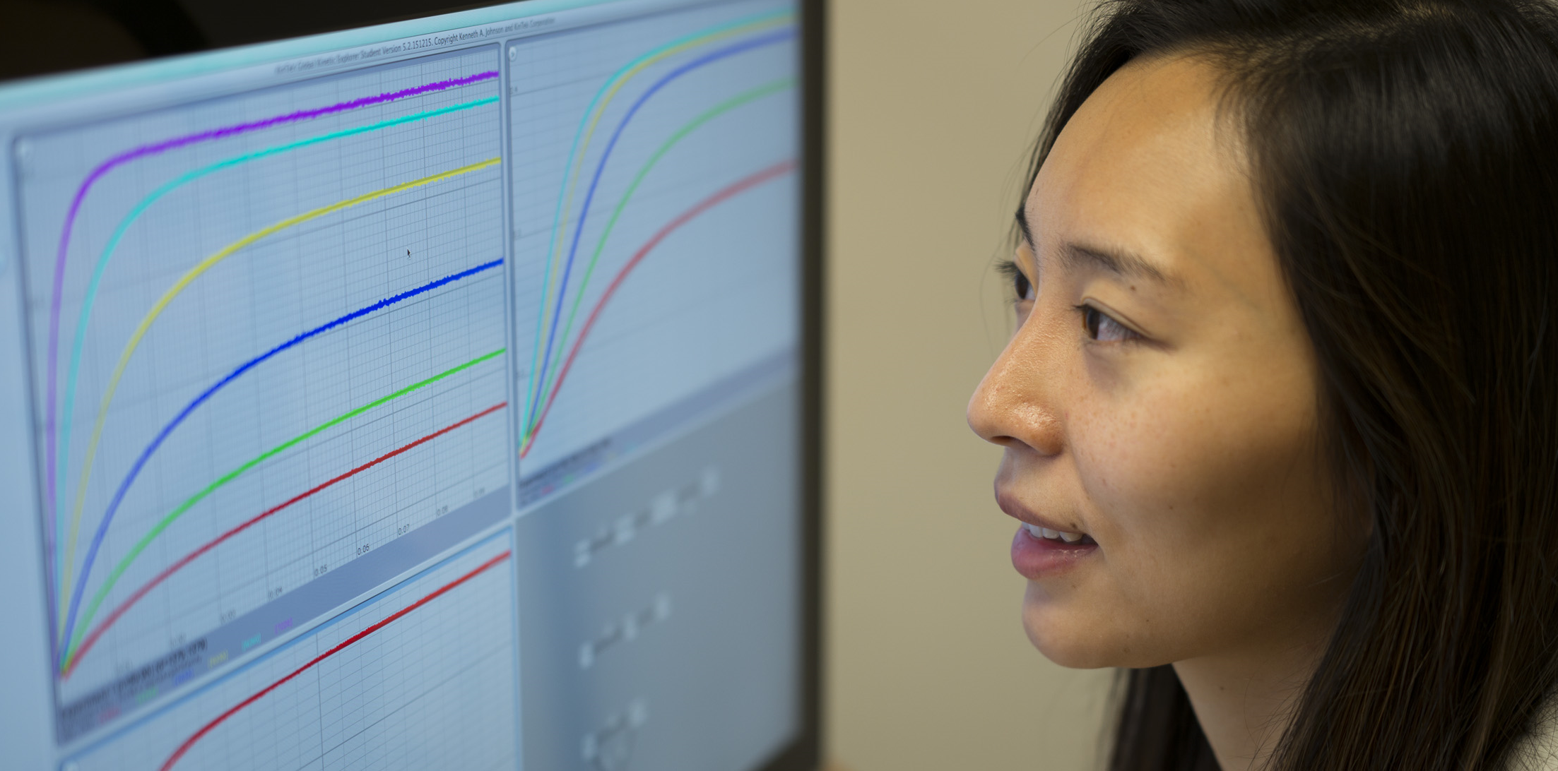 Graduate student Jiawen Li analyzes her kinetic data to define the rate of pyrophosphate release from the Hepatitis C viral RNA polymerase.