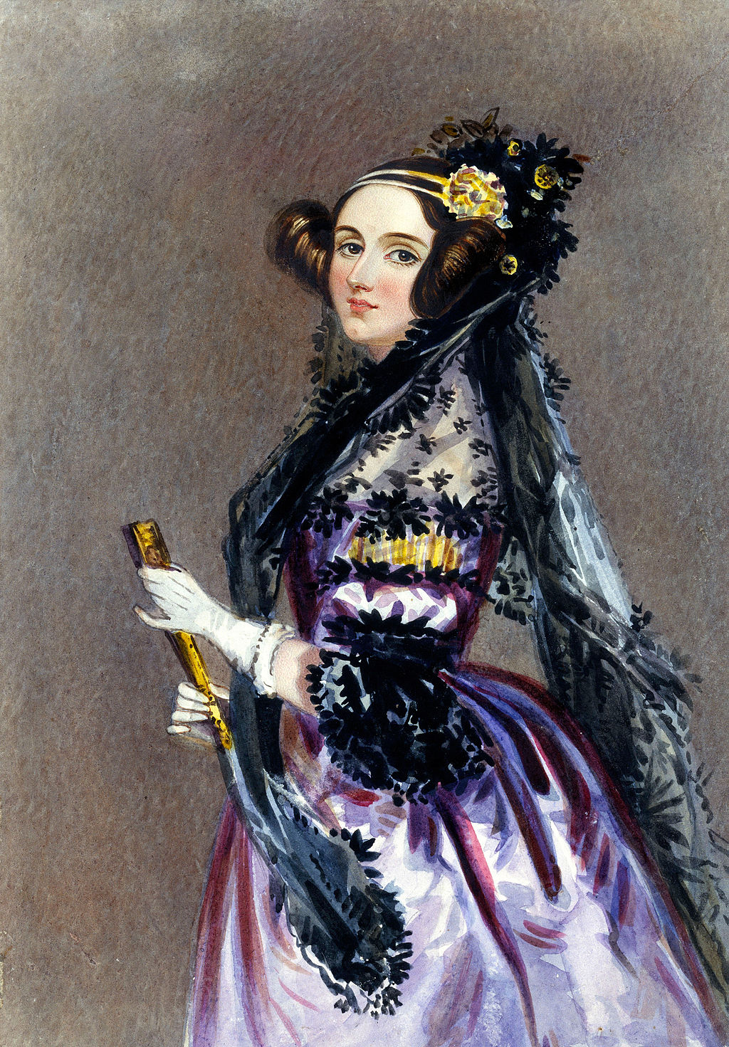 A watercolor portrait of Ada King, Countess of Lovelace, painted by Alfred Edward Chalon. Photo courtesy of Wikimedia Commons.