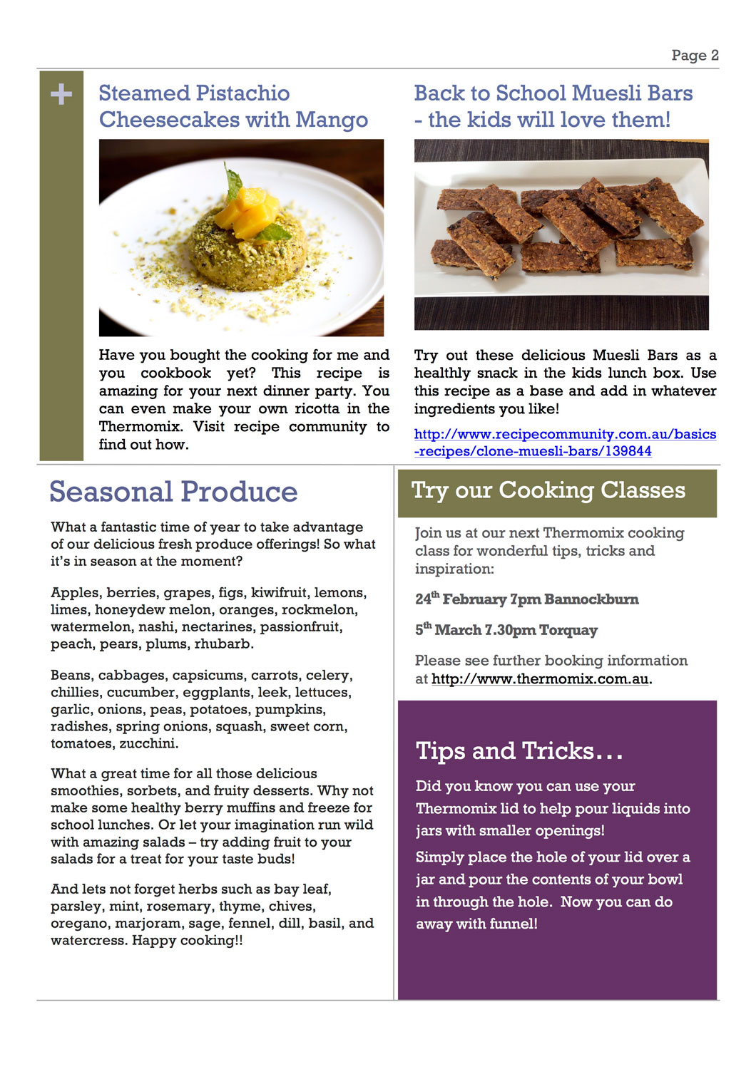 Thermomix Monthly Newsletter 2