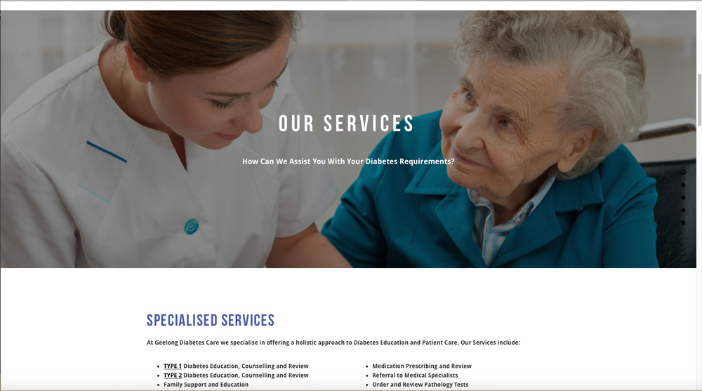 Geelong Diabetes Care Website
