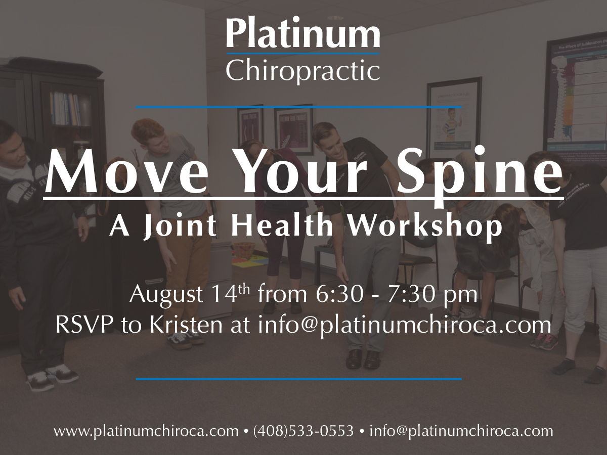 NTERESTED IN LEARNING MORE ABOUT KEEP YOUR JOINTS (AND ESPECIALLY YOUR SPINE) HEALTHY? COME TO OUR WORKSHOP ON AUGUST 14... MOVE YOUR SPINE. DR. KARO WILL BE LEADING A MOBILITY CLASS FULL STRATEGIES TO MAXIMIZE YOUR  NEURO-STRUCUTRAL CHIROPRACTIC CARE  FOR BOTH THE SHORT AND LONG TERM.