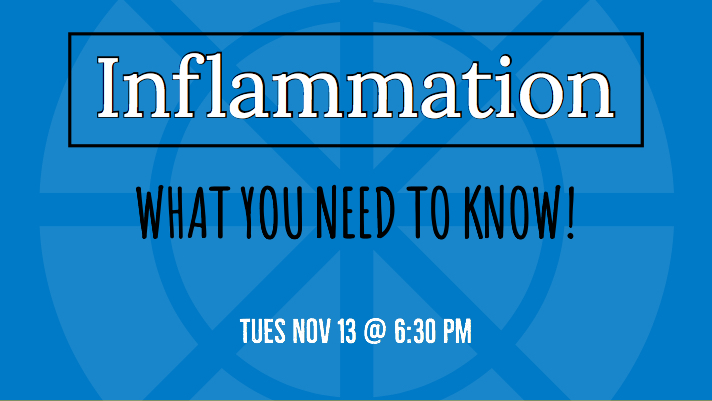 Top 7 Facts on Inflammation: Tuesday Nov 13 at 6:30 pm.