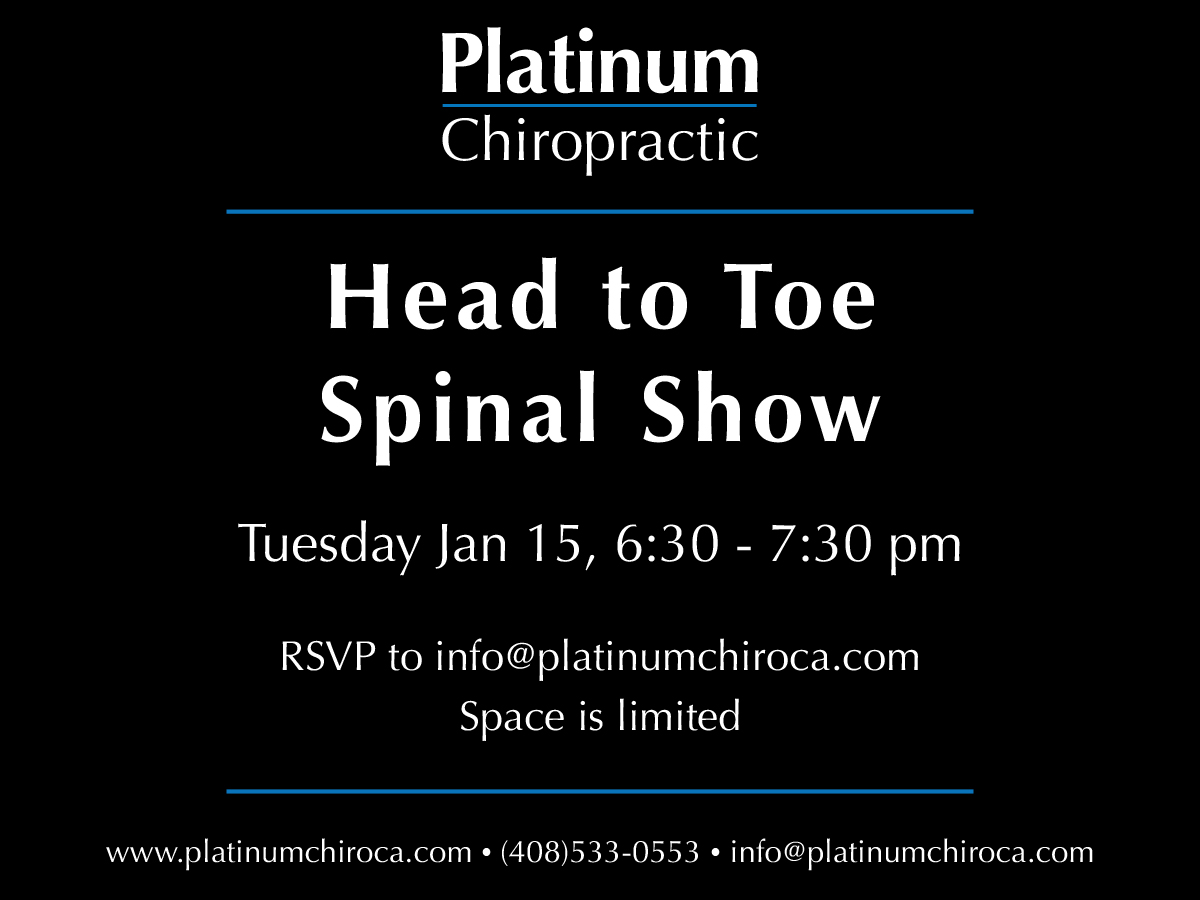 RSVP for the Head to Toe Spinal Show below.  This will be an interactive mobility classfeaturingexercises and movementsto help you heal faster, need less care, and see better results in both the short and long term.