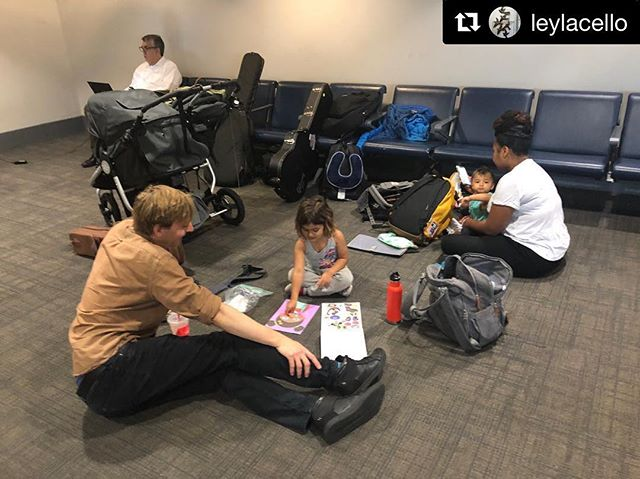 """#Repost @leylacello Airports are never boring with this crew. Excited to be playing in Boulder at @cuboulder tomorrow with Leyla and @pete_hole_in_shoe @whereisheavenn  We will miss you @chickenmelk ! @brad_webb_music what you know about """"making faces""""?? ・・・ First trip with all three kids! Thankful for my team and the compassionate, fun people that they are! #travel #tour #airport #hang #hangout #making #faces  #music #fun #talking #about #hotel #pools"""