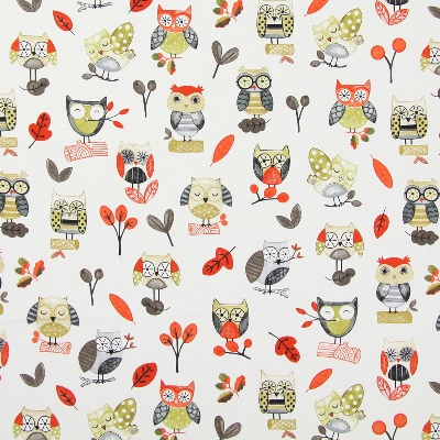 Ollie Owl Red  100% cotton  137cm | 64cm  Curtaining