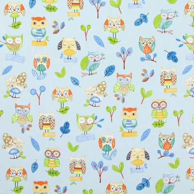 Ollie Owl Watercolour  100% cotton  137cm | 32cm  Curtaining
