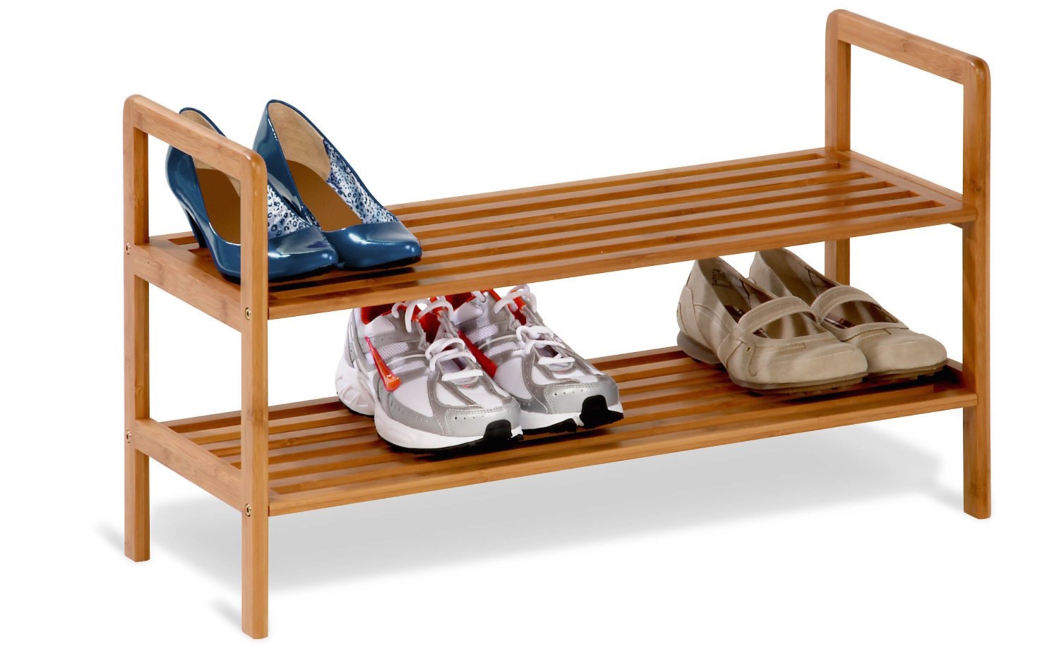 Use one of these small stack units to double your floor space at the bottom of a wardrobe.
