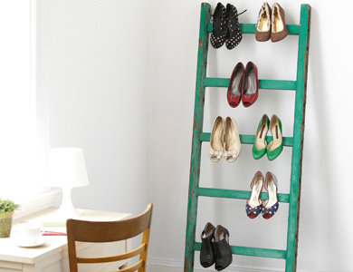 If cupboard space is limited, think about something like this leaning rack for your heels.