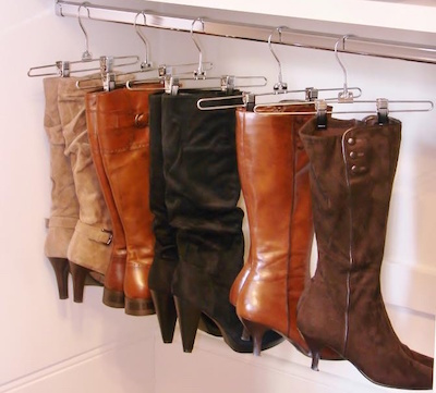 Consider hanging your long boots up- you'll keep them upright and save loads of space.