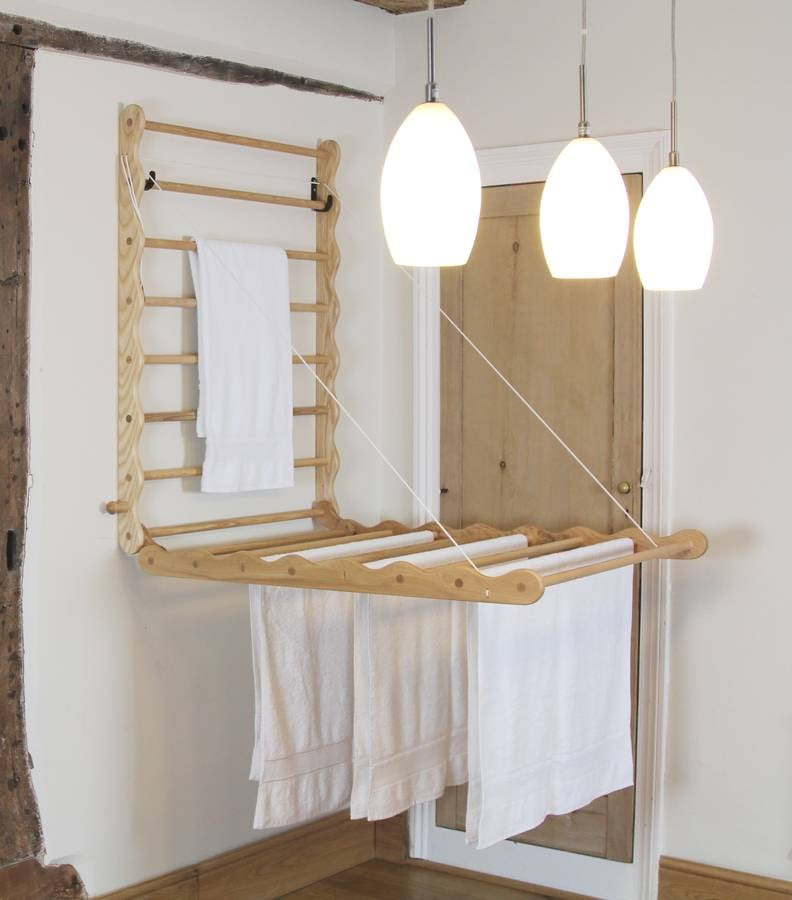 This clever DIY laundry rack is the perfect solution in a small apartment space with limited floor space.