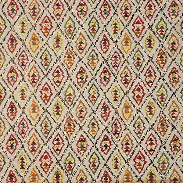 Inca Cayenne  35% Poly/ 33% Cott/ 32% Visc  139cm (useable 129cm) | 46cm  Curtaining & Accessories  Embroidered