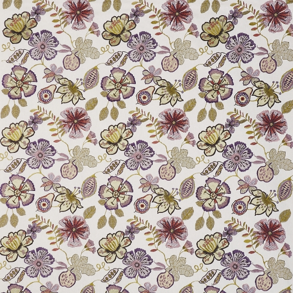 Passion Flower Orchid  56% Poly/ 25% Cott/ 19% Visc  141cm (useable 128cm) | 46cm  Curtaining & Accessories  Embroidered
